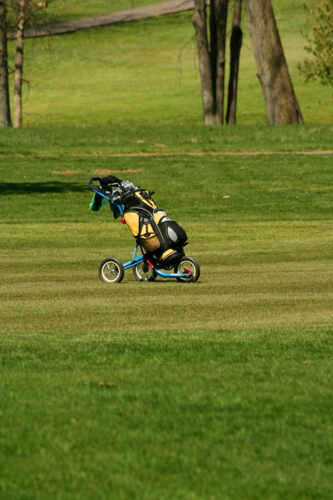 Golf bag on the fairway of a course